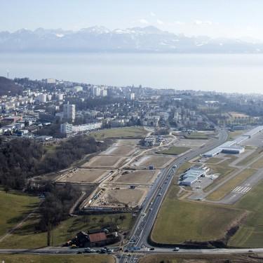 Terrains de sports de la Tuffière, Lausanne, vues aériennes, 16 02 17